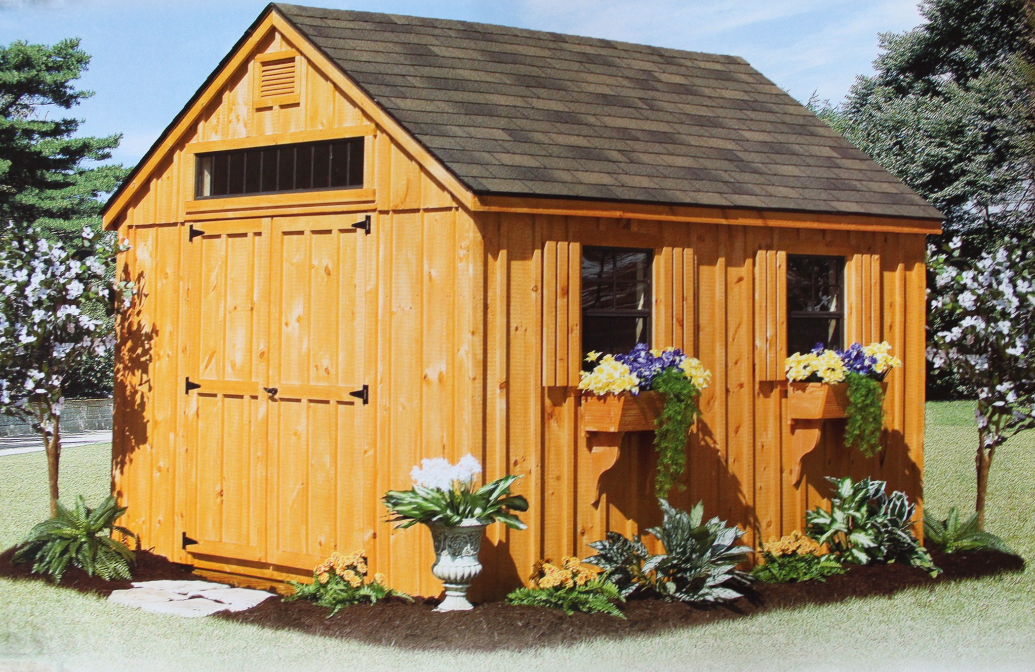 Storage sheds 1 2 car garages playhouses board and for Quaker barn home designs