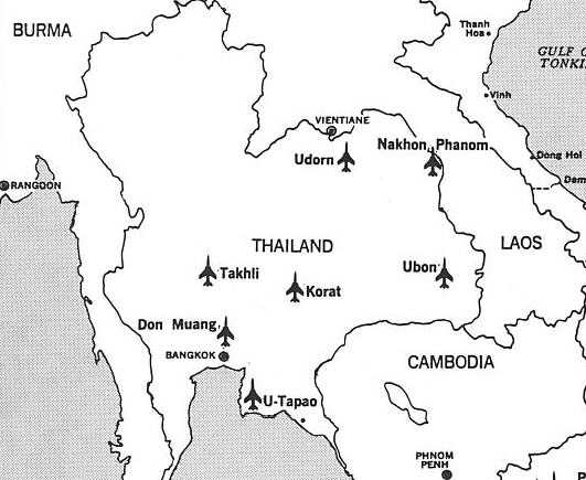USAF Bases In Thailandthey Flew Strikes Into North And South - Map of us military bases in vietnam