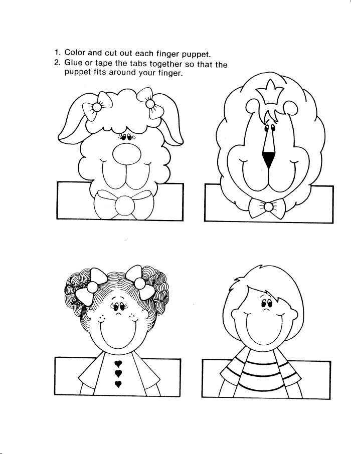 family finger puppets Colouring Pages
