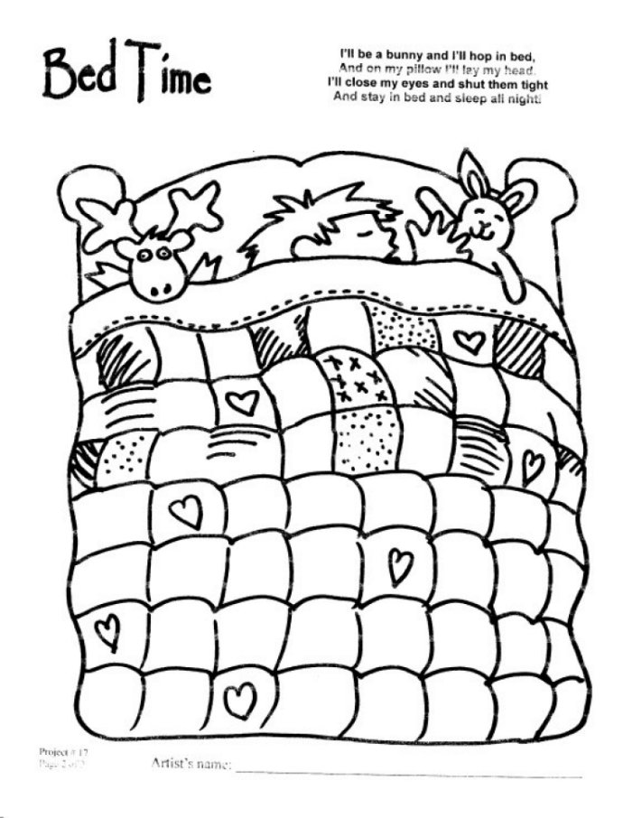 bed quilt Colouring Pages