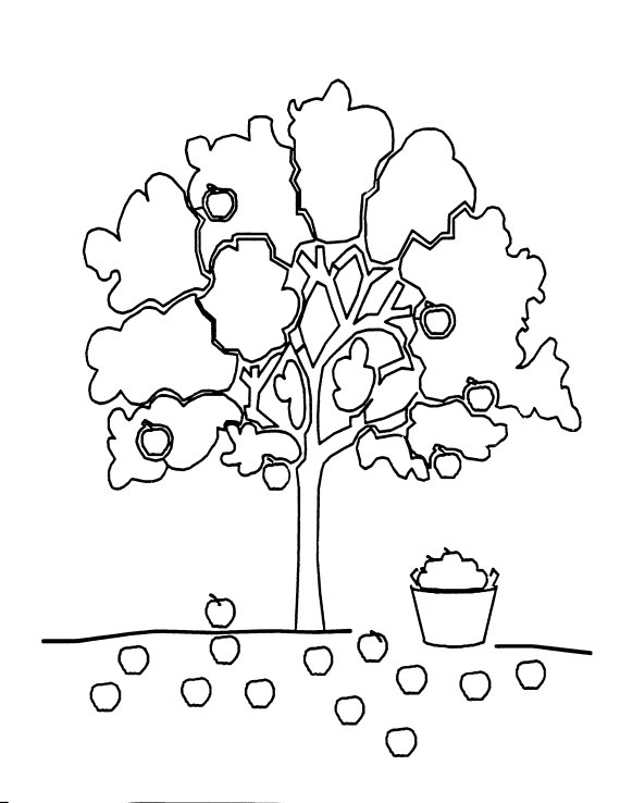 Coloring Pages For Apple Trees : Food coloring sheets janice s daycare