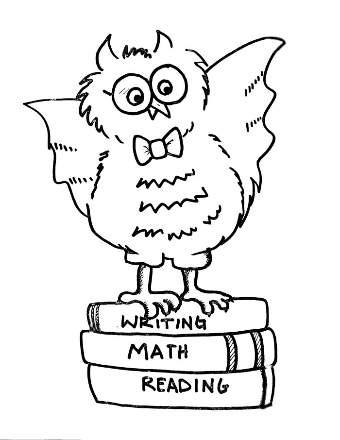 School Owl Coloring Page Owl on Books Coloring