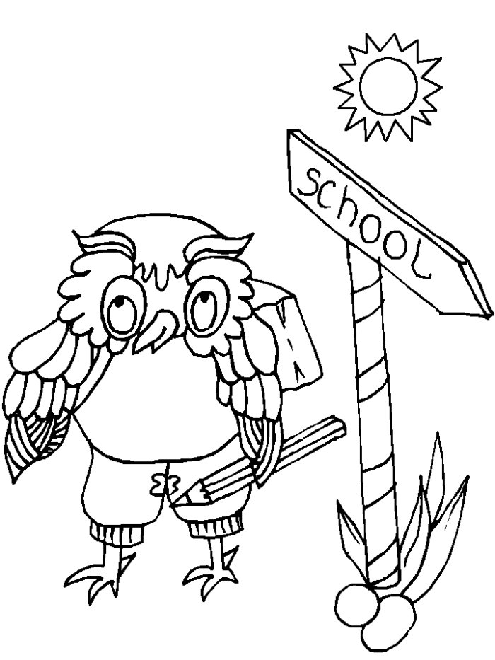 School Owl Coloring Page to School Coloring Sheet