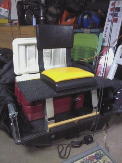 Sled mods for Ice fishing seat