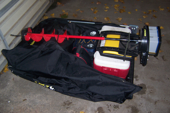 Ideas for hauling my icegator in a one man flip over for Ice fishing sled ideas