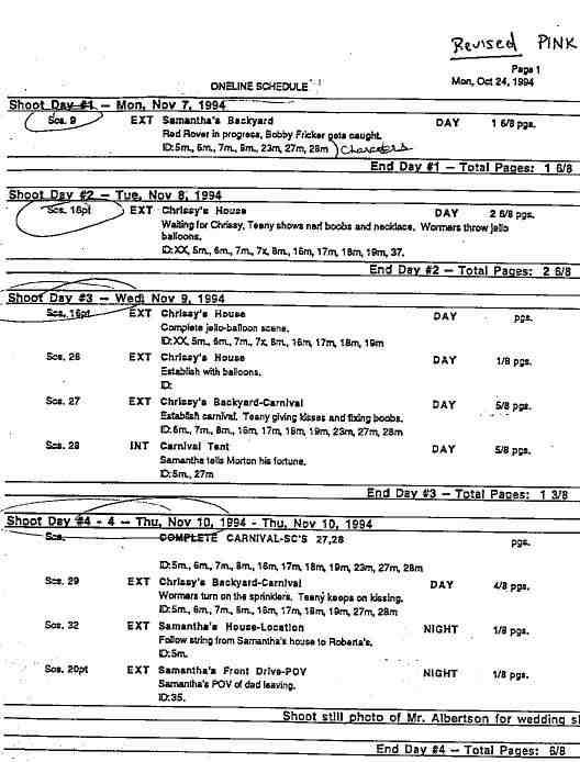 Film's Schedule